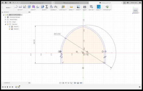 Gothic Storm window  Exporting DXF files in Fusion 360